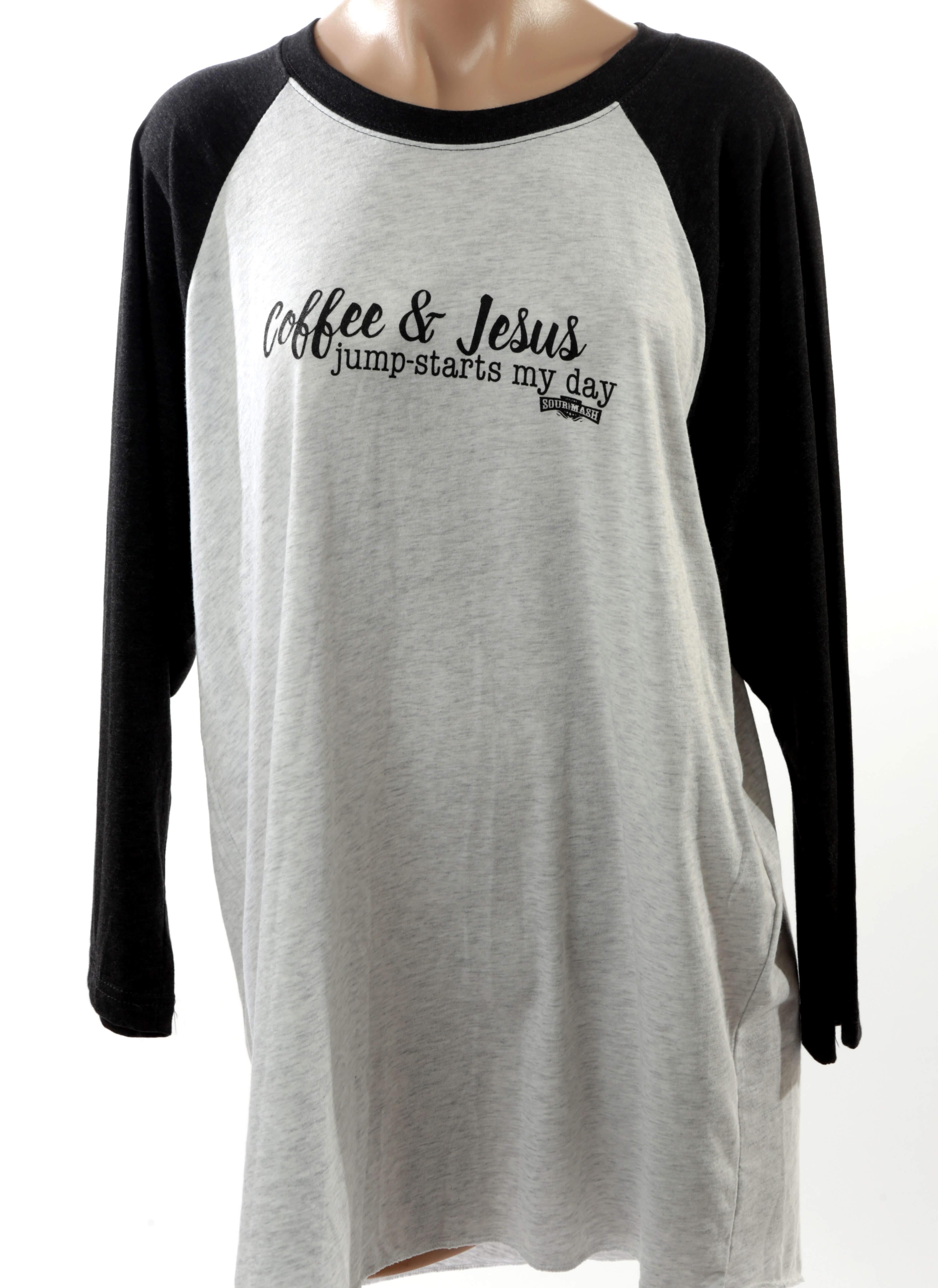 """Coffee and Jesus"" baseball T-shirt"
