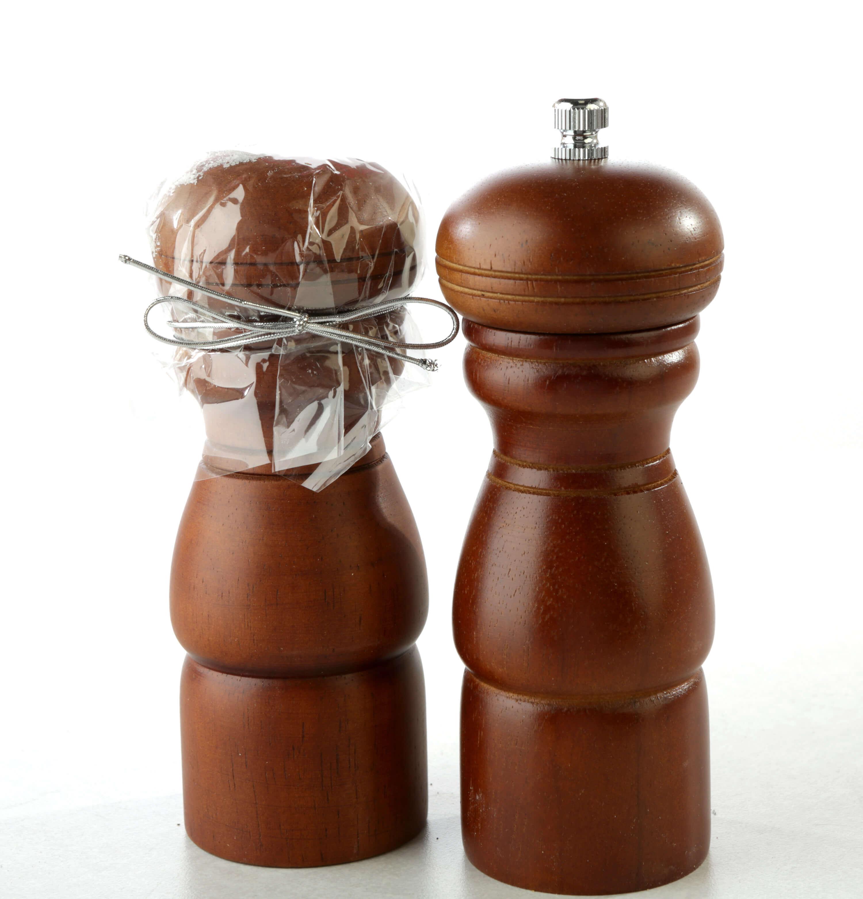 Dark wood peppermill and salt shaker set