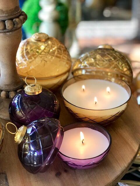 Purple ornament candle