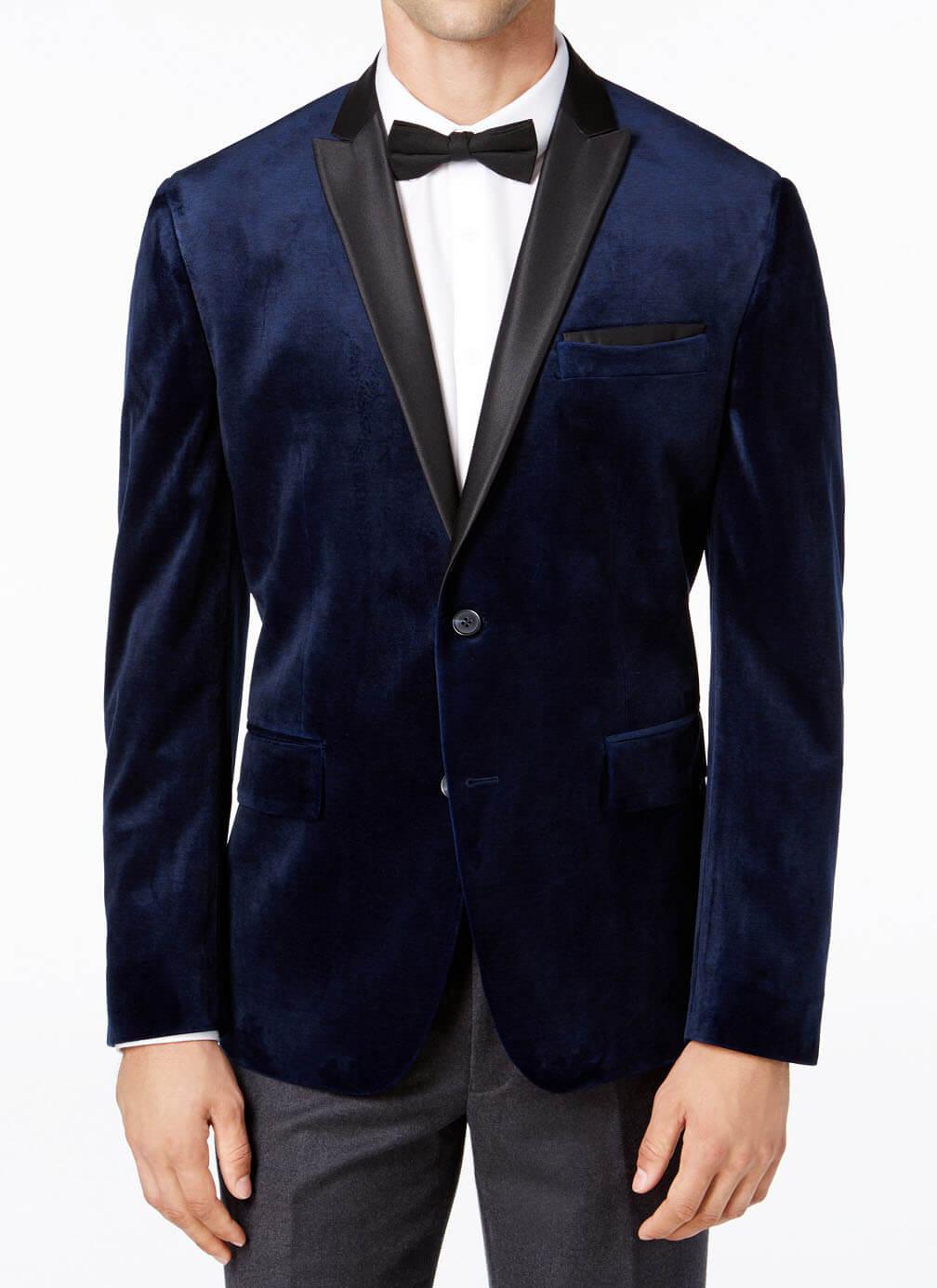 INC men's slim-fit velvet blazer