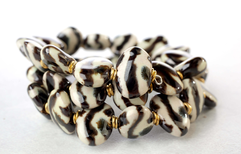 Kazuri spiral clay bead bracelet